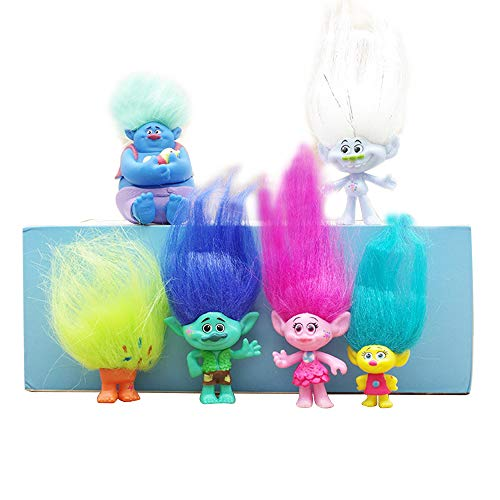 Trolls Toys Figures 6pcs,Dreamworks Poppy Trolls Doll with Hair,Party Supplies Trolls Cake Toppers 3-9cm include Branch and Poppy,Guy Diamond, Biggie, Smidge, Fuzzbert -