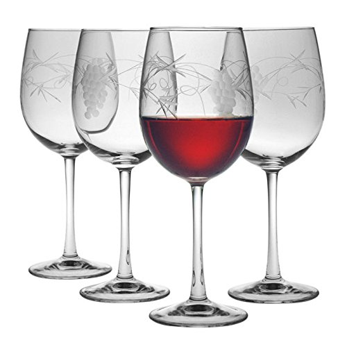Susquehanna Glass - All Purpose Wine Glasses, Set Of (Glass Grape Pattern)