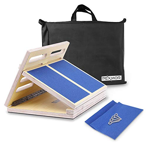 "PEXMOR Professional Wooden Slant Board, Adjustable Ankle Incline Board,17"" X13"" Portable 4-Level Calf Stretcher for Pain and Tension Relief Exercise (350 lb Capacity)"