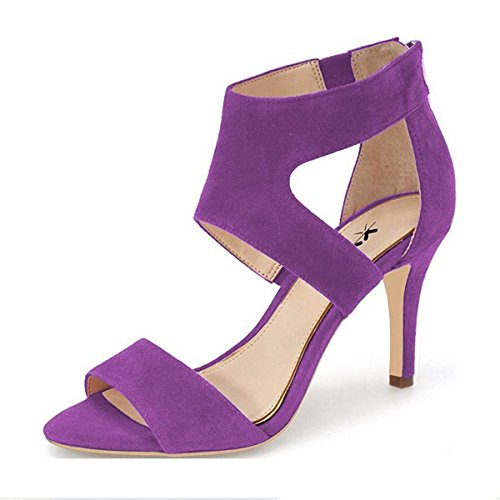 (XYD Prom Dancing Shoes Elegant Open Toe Strappy Heeled Sandals Ankle Wrap Dress Pumps for Women Size 8 Purple)