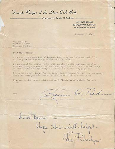 Lee Phillips Signed 1961 Fan Letter WBBM Chicago - NFL Autographed Miscellaneous Items
