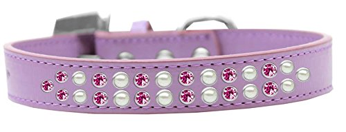 Mirage Pet Products Two Row Pearl and Pink Crystal Lavender Dog Collar, Size 20 by Mirage Pet Products
