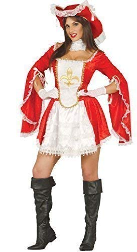 Ladies Sexy Red White Musketeer Halloween Book Day Film Fancy Dress Costume Outfit (UK 16-18) -
