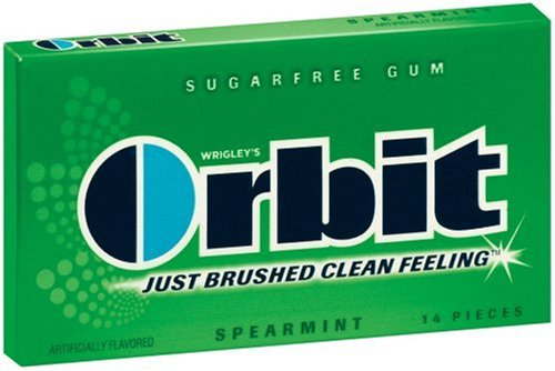 Orbit Sugarfree Gum Spearmint, 14-Piece Packs (Pack of 24)