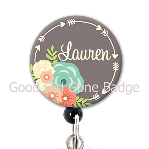 Retractable Badge Reel - Grey Floral Arrows - Personalized Name - Badge Holder / Nurse / Teacher / Medical / Cute Badge Reel - Personalized Badge Reels