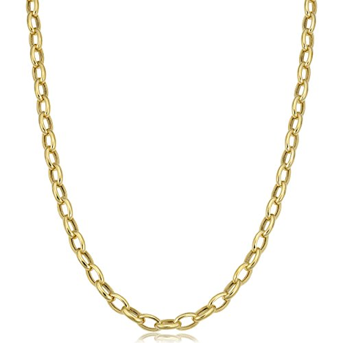 14k Rolo (14k Yellow Gold Hollow Rolo Link Chain Necklace (4.6mm, 32 inch))