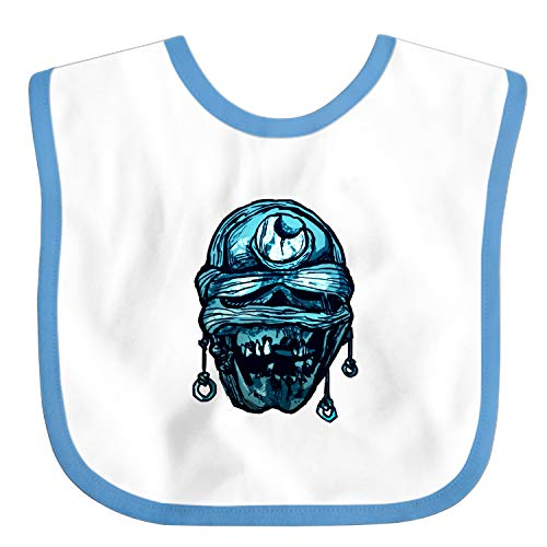- Baby Bibs and Burps Crescent Moon Mummified Skull Horror Blue Unisex Soft Absorbent Teething Bib