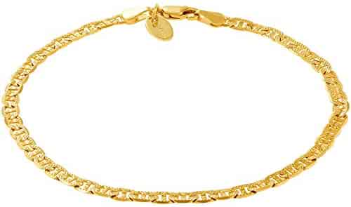 c15582a59 Lifetime Jewelry Ankle Bracelets for Women Men and Teen Girls [ 4mm Gold  Mariner Link Chain