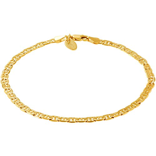 - Lifetime Jewelry Ankle Bracelets for Women Men and Teen Girls [ 4mm Gold Mariner Link Chain Anklet ] 20X More 24k Real Plating Than Other Foot Jewelry - Very Durable - Cute for Beach & Party (10.0)