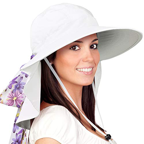Womens Sun Hats Neck Flap Large Brim UV Protection Foldable Fishing Hiking Cap White