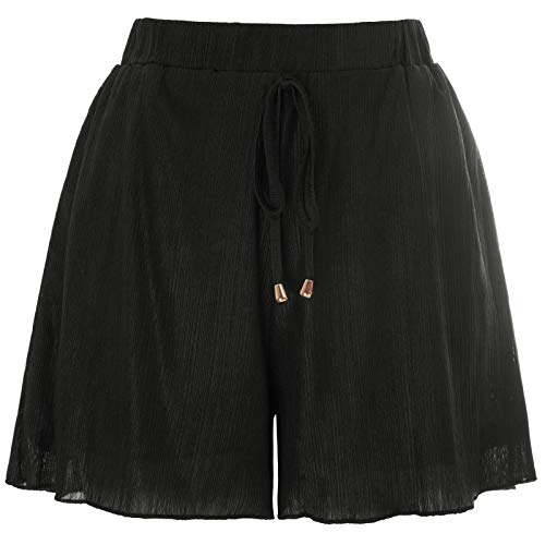 GRACE KARIN Women's Wide Leg Stretch Casual Sequin Metallic Shorts Pants with Pockets Black L]()