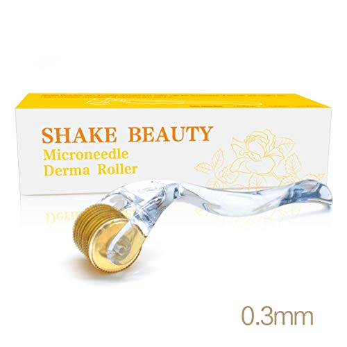 Derma Roller for Face 0.3mm - Cosmetic Microneedle Roller for Face 540 Titanium Micro Needles - Microdermabrasion - Includes Storage Case