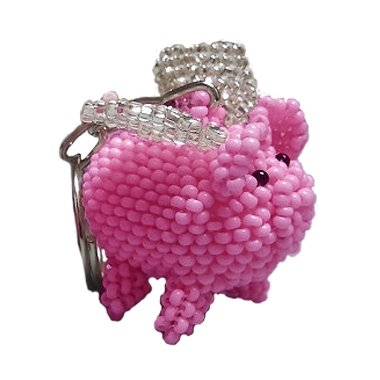 EvolveFISH Flying Pig Beaded Keychain ()