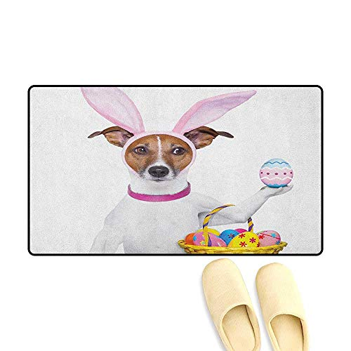 zojihouse Easter Bath Mat Non Slip Dog Dressed up as Easter Bunny Holding a Basket of Eggs Funny Animal Illustration Size:16