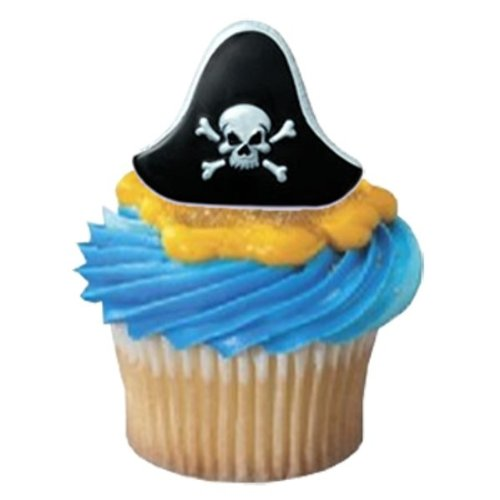 Pirate Hat Cupcake Rings - 24 ct