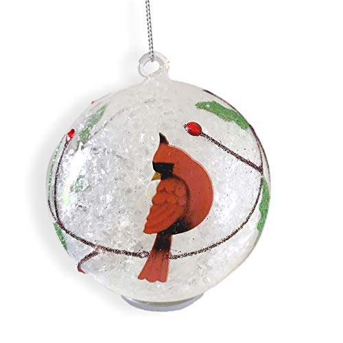 BANBERRY DESIGNS Cardinal Christmas Ornament - Light Up Glass Ball Ornament Cardinal Design - White Snow and Glitter Inside -
