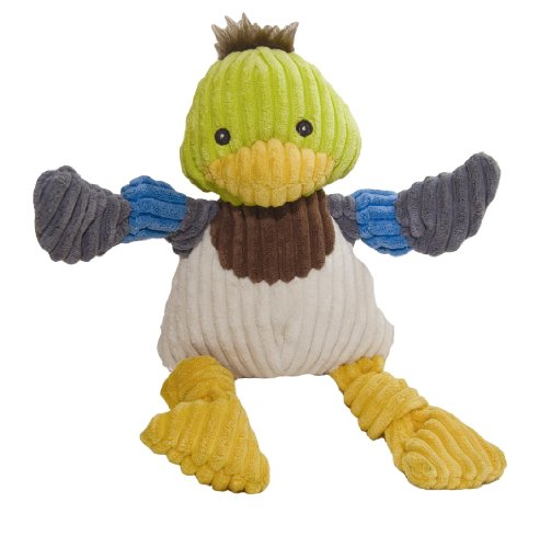 HuggleHounds Plush Corduroy Durable Knotties Duck Dog Toy, M