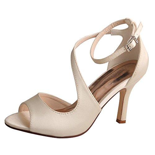 - Wedopus MW7050 Women's Peep Toe High Heels Wedding Sandals Buckles Satin Evening Party Prom Sandals Size 7 Ivory