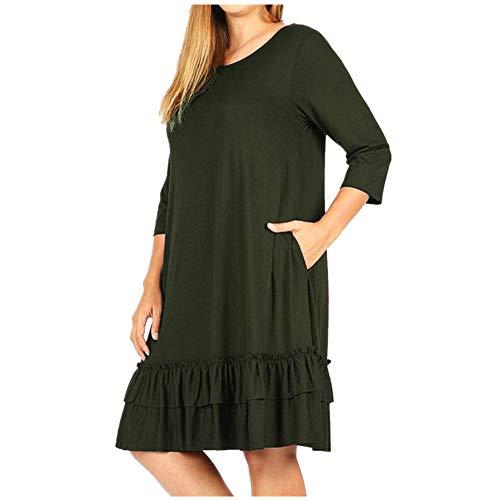 Fashion Womens KIKOY Solid Plus Size 3/4 Sleeve Loose Ruffle Knee-Length Dress