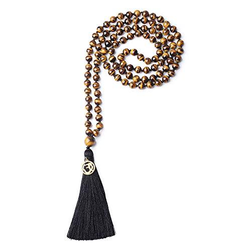 COAI OM Charm Hand Knotted Tassel 108 Mala Beads Tiger Eye Stone Beaded Necklace