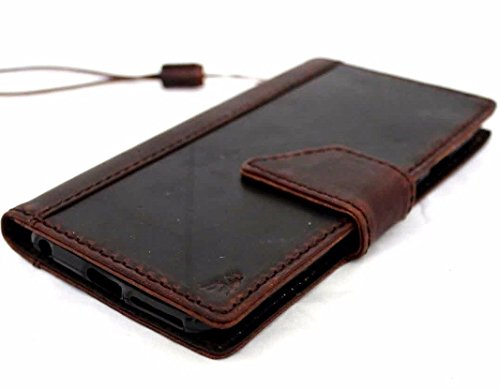 (Genuine Natural Leather Case for Iphone 6 6s Plus + Book Wallet cover Handmade Business Luxury Magnet brown !)