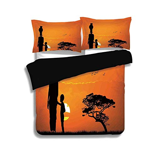 - KUDOUXIA Black Duvet Cover Set Queen Size,Afro Decor,Child and Mother at Sunset Walking in Savannah Desert Dawn Kenya Nature Image,Orange Black,3 Pcs Bedding Set 2 Pillow Shams