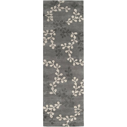 (Diva At Home 2.5' x 8' Tahara Petal Feather Gray and Pewter Wool Area Rug Runner)