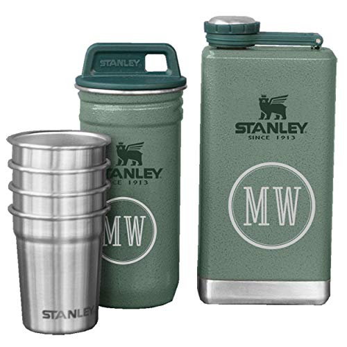 Personalized Personalized Stanley Adventure SS Shots + Flask Gift Set - Hammertone Green with Free Laser Engraving ([B] Double Initial) (Stanley Stainless Steel Shots Flask Gift Set)