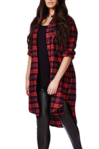 Manches longues Front ouvert carreaux Casual chemisiers chemise femme