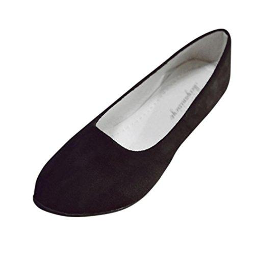 Inkach Dames Platte Schoenen | Puntige Suède Balletschoenen | Ladise Casual Lage Hak Ondiepe Schoenen Zwart