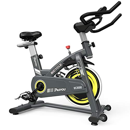 PASYOU Magnetic Exercise Bike Indoor Stationary Cycling Bike Belt Drive Bicycle with LCD Monitor for Home Cardio Workout…