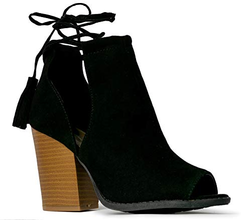 - J. Adams Cady Ankle Bootie - Lace Up Peep Toe Cutout Mule Stacked High Heel