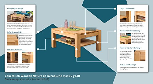 Couchtisch Wooden Nature 08 Kernbuche massiv bio geölt - Abmessung ...