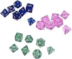 non-brand 21 Pedazos Dados de Acrílicos para Juegos de Mesa, Fiestas de Festivales - Verde + Azul + púrpula: Amazon.es: Juguetes y juegos