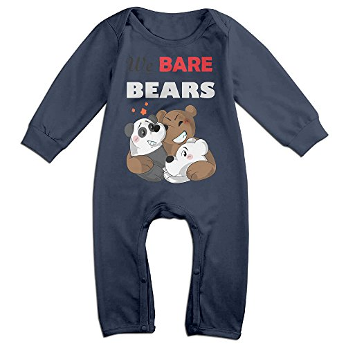 Mmo-J Newborn Babys We Bare Bears Long Sleeve Romper Bodysuit Outfits Navy Size 18 Months
