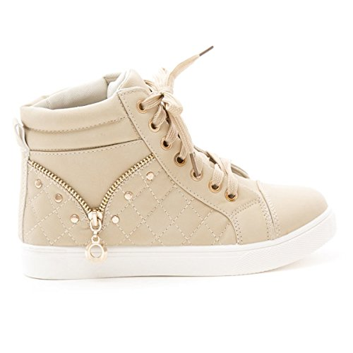 Soho Shoes Women's Casual Lace Up High Top Quilted Fashion Sneaker