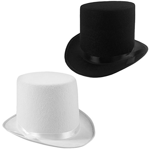 Funny Party Hats Felt Top Hats - 2 Pack - 1 Black & 1 White Top Hat Costume Hats -