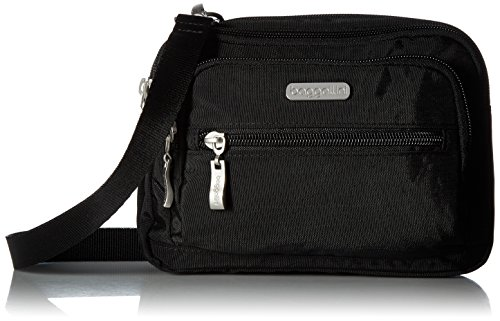 Baggallini Triple Zip Bag –Removable, Adjustable Strap can Switch from Crossbody Bag to Wallet Purse orWaist (Triple Zip Tote)