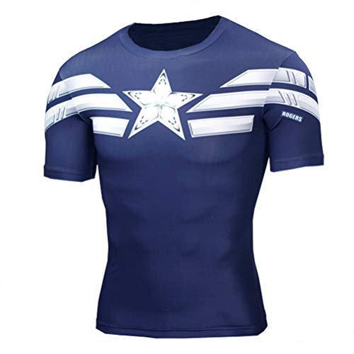 Mens Short Sleeve Captain America Costume Shirt Dri-fit Compression Shirt L -