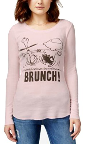 Peanuts Snoopy House Party, Brunch Juniors Long Sleeve Thermal T-Shirt Tee Waffle-Knit Graphic Top (X-Large, Pink Brunch)