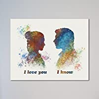 "Star Wars Han Solo and Leia I love you I know 11"" x 14"" Print"