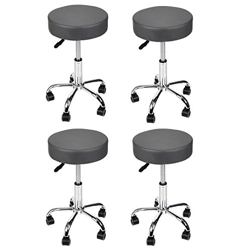 Hydraulic Massage and Salon Stool Set of 4 - Extra Large and Thicken Seat Grey by YOULITE