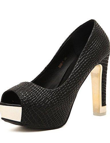 ShangYi Womens Shoes Chunky Heel Peep Toe Sandals Casual Black/White Black