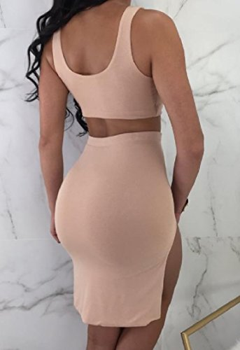 Skirt Irregular Pink Solid Dresses Coolred Skinny Two Piece Women Sleeveless Suit Skinny 0wwqBUHxz