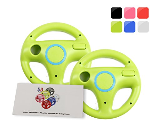 Wii Racing Game Steering Wheel (GH 2Pcs Wii(U) \ Wii Wheel for Mario Kart 8 and Other Nintendo Remote Steering Games , Wii Steering Wheel - Yoshi Green (6 Colors Available))