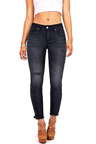 Wax Denim Women's Juniors Frayed Hem Skinny Jeans (1, Black)