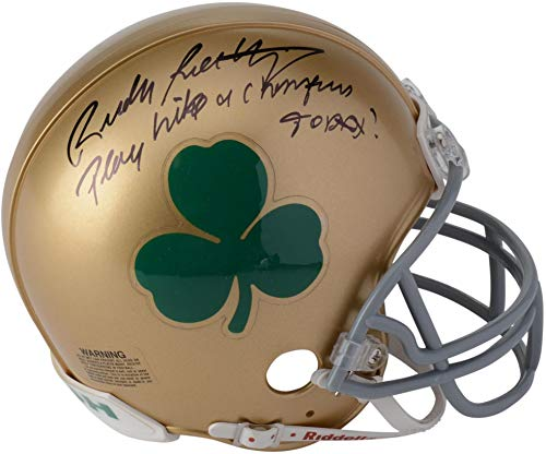 Rudy Ruettiger Notre Dame Fighting Irish Autographed Riddell Shamrock Logo Mini Helmet with