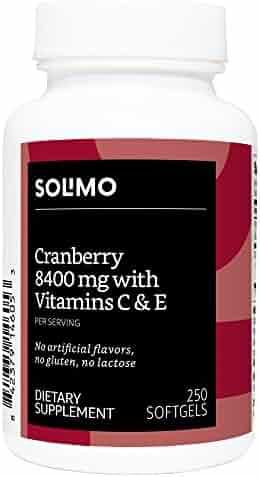 Amazon Brand - Solimo Cranberry 8400 mg with Vitamins C & E, 250 Softgels (2 Softgels per Serving)