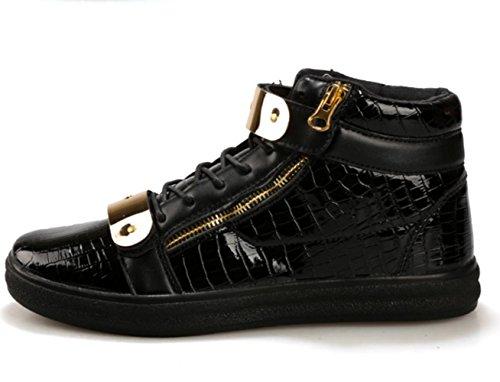 CSDM Uomo Casual Fashion Aiuto Aiuto Piattaforma di metallo Scarpe da tavolo Scarpe da basket Pattini correnti di sport , black , 39
