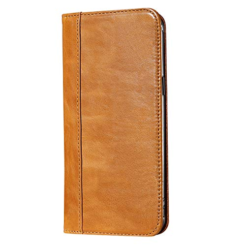 ProCase Galaxy S9 Plus Genuine Leather Case, Vintage Wallet Folding Flip Case with Kickstand, Card Holder, Magnetic Closure Protective Cover for Samsung Galaxy S9+ 2018 Release -Brown